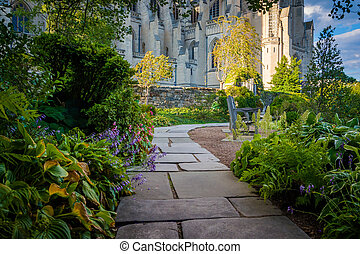 Walkway in the Bishop's Garden and the Washington National...