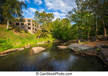 The Reedy River at Falls Park on the Reedy, in Greenville,...