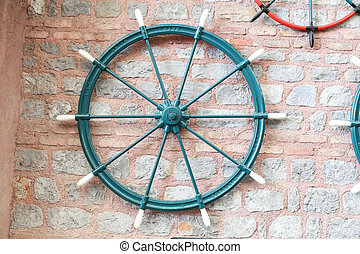 Sailboat Rudder on Wall - Sailboat Rudder hanging on the...