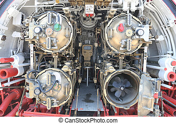 Torpedo room section of submarine - Torpedo room section of...