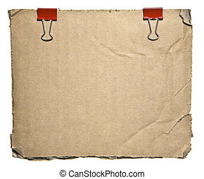 Torn Aged Cardboard With Red Clips Isolated On White...
