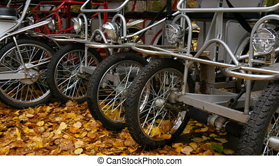 Bicycle parking in autumn day - Bicycle parking in Europe....