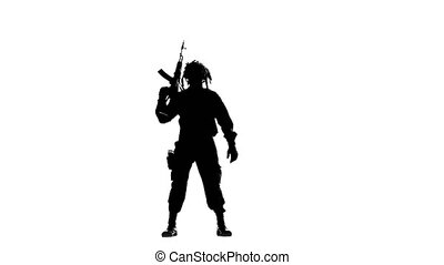 Soldier with a gun on his back. Silhouette - Soldier with a...