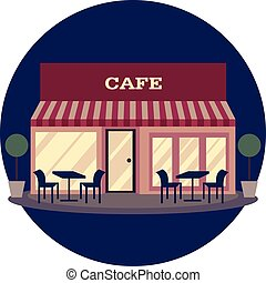 Vector illustration of building restaurant and cafe flat icon