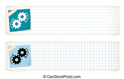 Two banners with lined paper, graph paper and the cogwheels