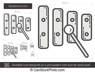 Xylophone line icon. - Xylophone vector line icon isolated...