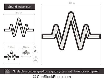 Sound wave line icon. - Sound wave vector line icon isolated...