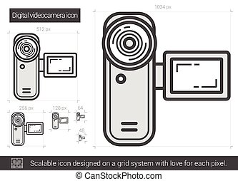 Digital videocamera line icon. - Digital videocamera vector...