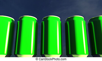 Bright green cans against sky at sunset. Soft drinks or beer...