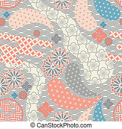 Seamless japanese style pattern illustration vector