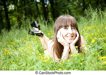 Summer Season - Beauty Young Woman Resting On The Meadow