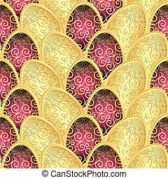 Seamless Easter pattern with golden eggs