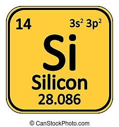 Periodic table element silicon icon. - Periodic table...