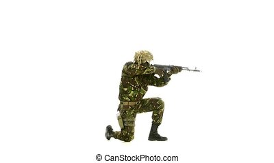 Armed man stands on one knee. White background