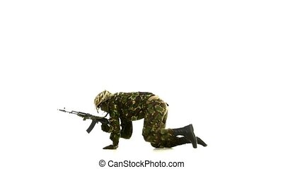 Armed man lay on the floor. White backgraund - Armed man lay...