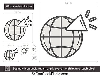 Global network line icon - Global network vector line icon...