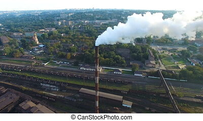 Pipe factory smoke. Aerial survey