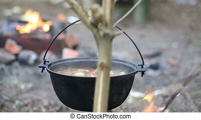 Cooking soup in a pot on the fire. Preparing food on...
