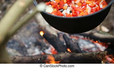 Cooking soup in a pot on the fire - Preparing food on...
