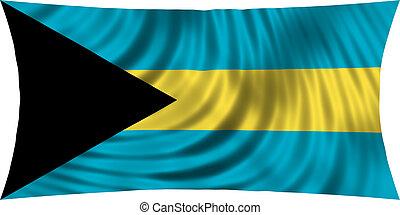 Flag of Bahamas waving isolated on white