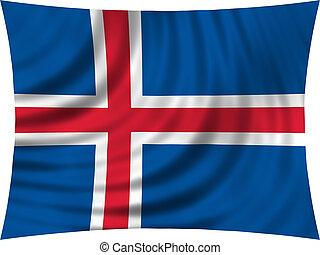 Flag of Iceland waving isolated on white