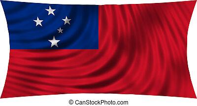 Flag of Samoa waving isolated on white