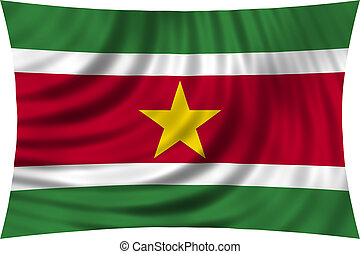 Flag of Suriname waving isolated on white