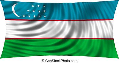 Flag of Uzbekistan waving isolated on white