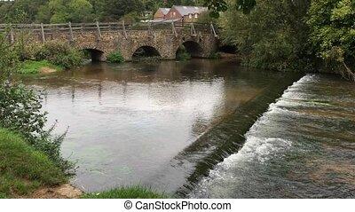 Weir - A village river with weir.