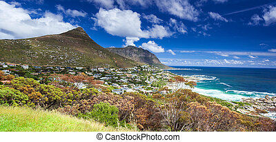 Cape Town panoramic landscape, Camps Bay and Lion's Head...