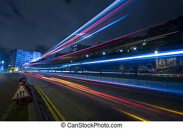 traffic at night in Hong Kong