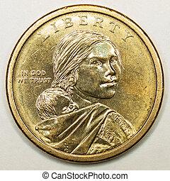 Sacagawea, oro, dólar, nosotros, norteamericano, Feature,...