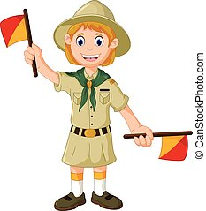 funny girl scout playing semaphore - vector illustration of...