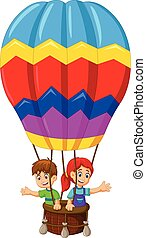 two kids flying with air balloon