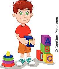 cute boy cartoon playing lego - vector illustration of cute...