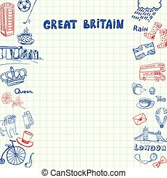 Great Britain Pen Drawn Doodles Vector Collection - Great...
