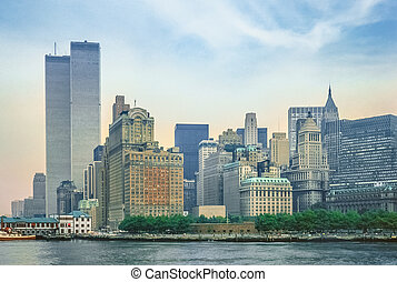 Twin Towers New York - New York City skyline from New Jersey...