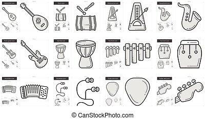 Music line icon set. - Music vector line icon set isolated...