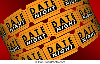 Date Night Tickets Romantic Evening Out Movie 3d Illustration