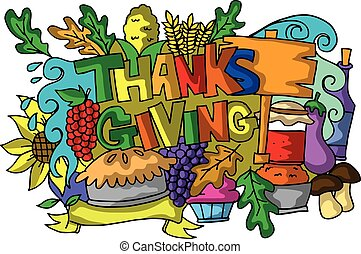 Colorful thanksgiving of doodle art