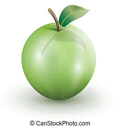 Green Apple - Illustration of green apple on a white...