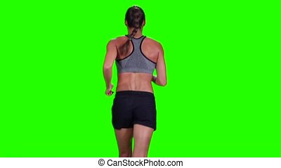 Running girl. Sport. Back view. Green screen. Slow motion -...