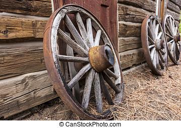 carro, ruote, vecchio, contro, parete