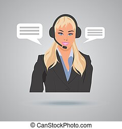 technical support concept, call center, woman with...