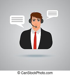 technical support concept, call center, vector illustration