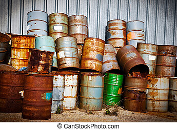 Chemical Drums - Stacks of Chemical Drums Found At The Farm