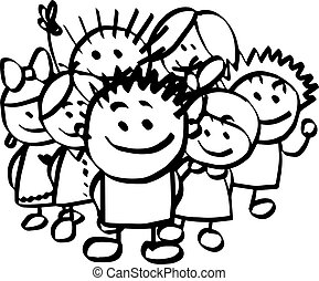 illustration vector hand drawn doodle of children group isolated on white background.