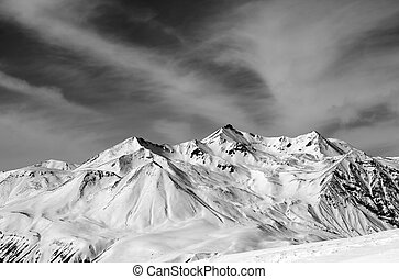Winter snow mountains in windy day. Caucasus Mountains,...