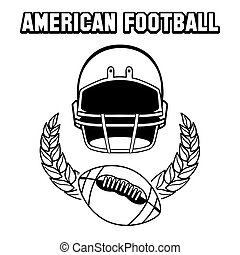Black and white american football emblem isolated on white....
