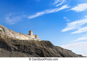 Genoese fortress view from below - the bright daytime photo...